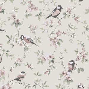 Birds 4024 Wallpaper in 'Beige/Pink/Green'
