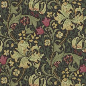 Golden Lily Wallpaper in 'Charcoal/Olive' from the 'Morris Archive' Wallpaper Collection