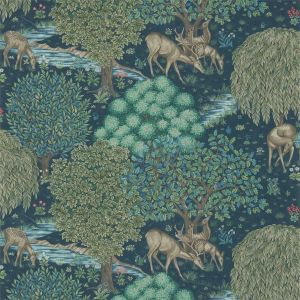 The Brook Wallpaper in 'Dark Blue' from the 'Morris Archive III' Wallpaper Collection