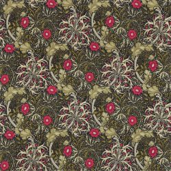Morris Seaweed Fabric in 'Ebony/Poppy' from the 'Archive Prints III' Fabric Collection