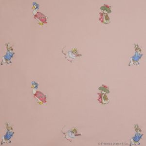 Jane Churchill Embroidered Beatric Potter Fabric J643F-02 in 'Pink'