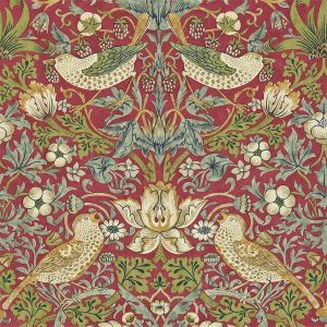 Morris & Co Archive II Wallpapers Strawberry Thief Crimson Slate