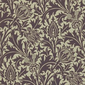 Thistle Wallpaper in 'Mulberry/Linen' from the 'Compendium II' Wallpaper Collection