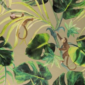 Clarke & Clarke Wallpaper Colony Monkey Business W0083 02 Gilver