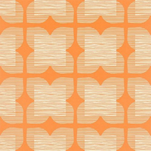 Flowertile Wallpaper in Clementine