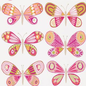 Guess Who   Madame Butterfly Wallpaper In Cerise Pistachio Chalk