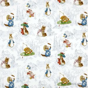 Jane Churchill Tales Of Beatrix Potter Fabric J439F-02 in 'Blue'