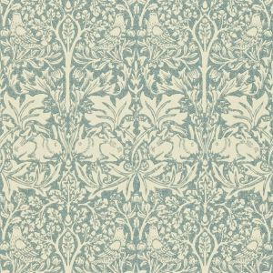 Morris & Co Wallpaper Volume IV Brer Rabbit DMORBR103 in 'Slate/Vellum'