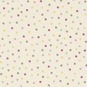 Sanderson Emma Bridgewater Polka Dot Fabric 223445 in 'Pink/Grey/Yellow'