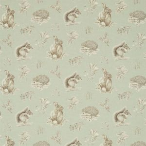Sanderson Woodland Walk Squirrel & Hedgehog Fabric 225522 in 'Seaspray/Charcoal'