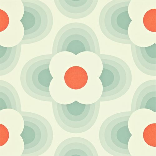 Striped Petal Wallpaper in Duckegg