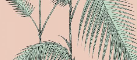 Palm Leaves 112/2005 'Alabaster Pink & Mint'