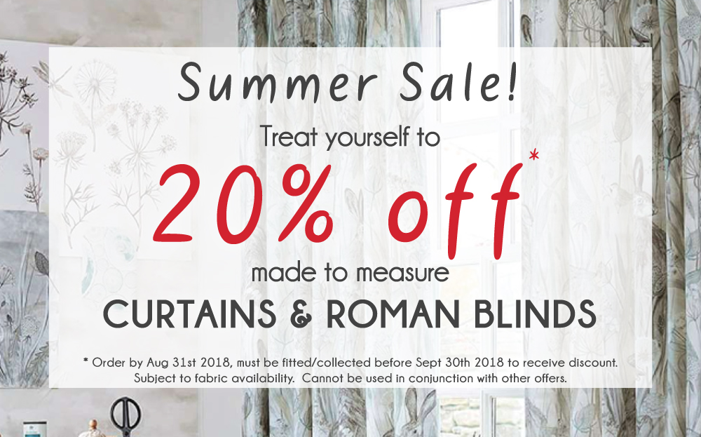20% off Curtains & Blinds - Made to measure