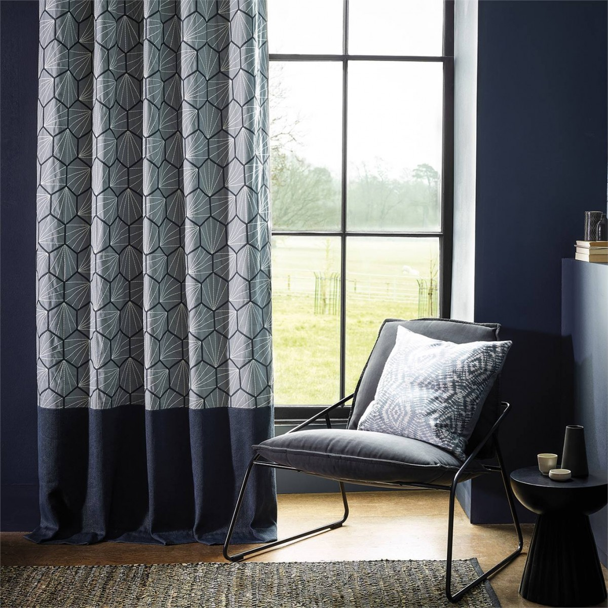 Curtains in Scion Aikyo fabric with contrast border