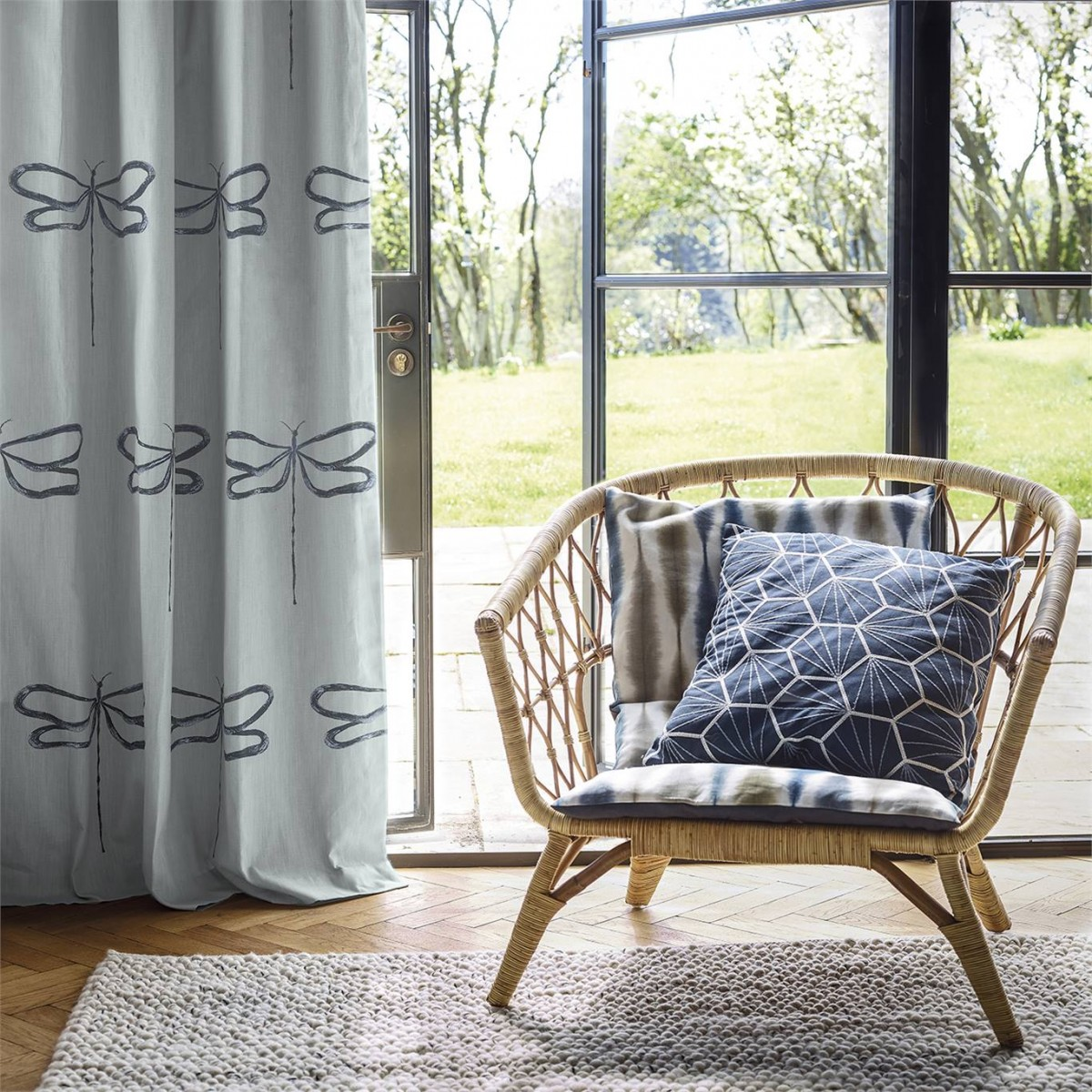 Curtains made from Scion Dragonfly fabric