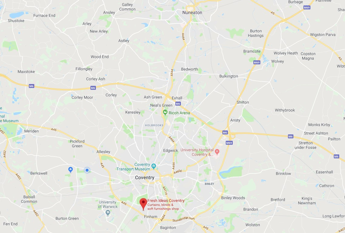 Map from Nuneaton to Fresh Ideas Coventry